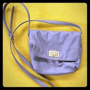 Gray crossbody or clutch w gold latch